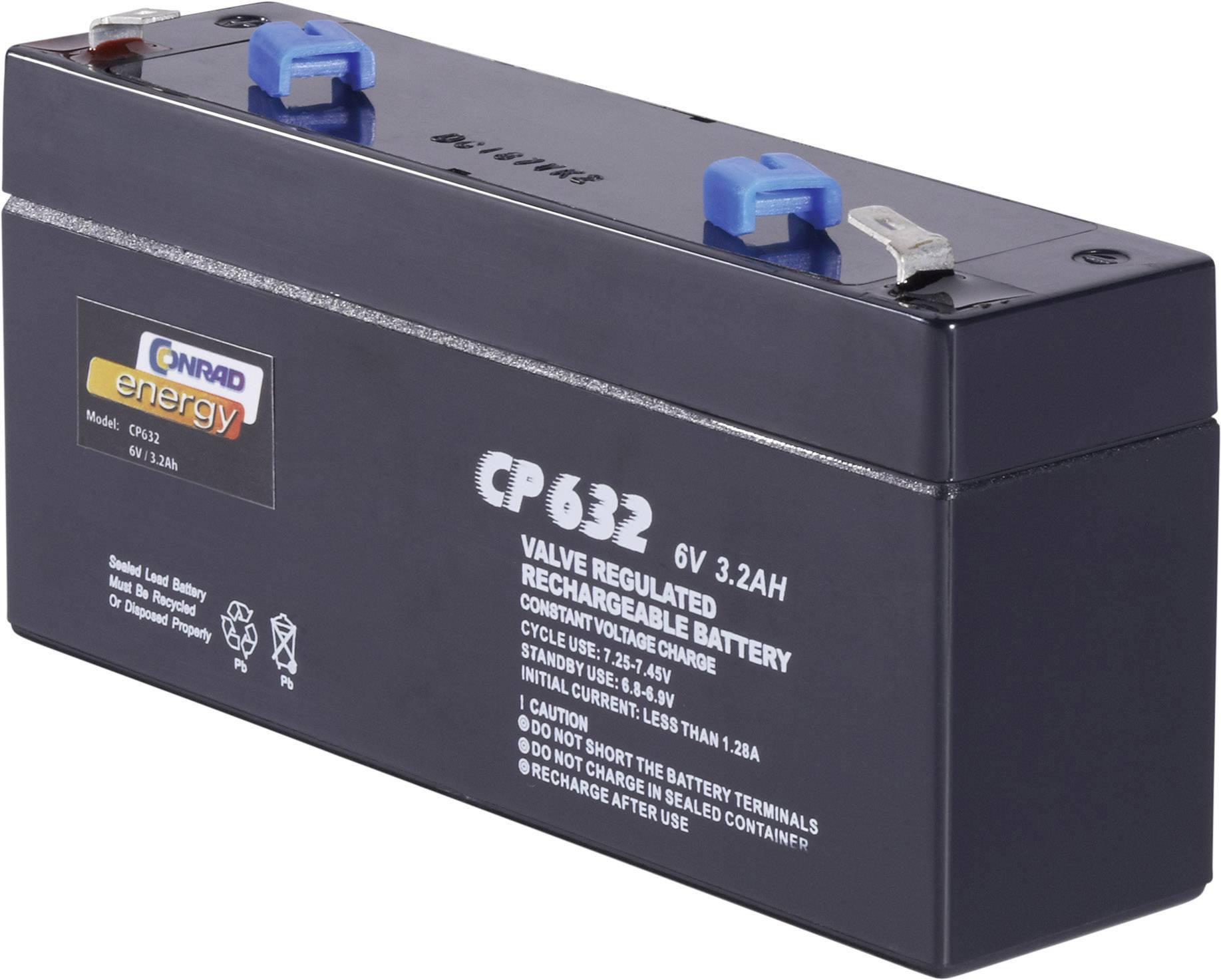 Olovený akumulátor Conrad energy CE6V/3,2Ah 250103, 3.2 Ah, 6 V