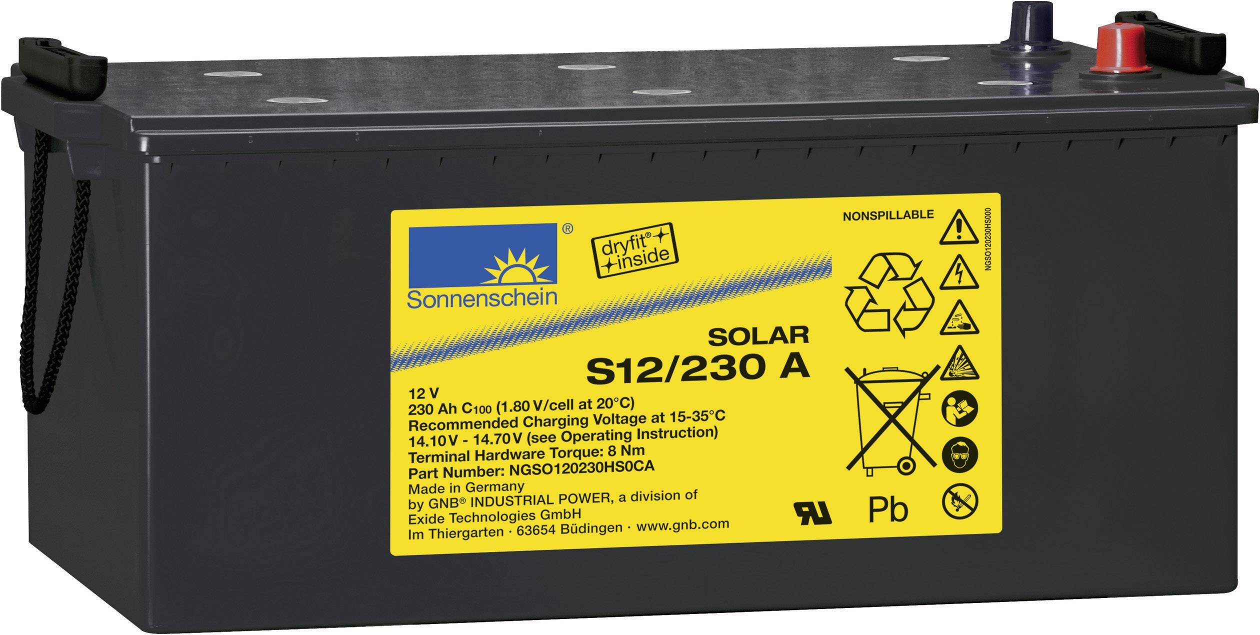 Solárny akumulátor GNB Sonnenschein S12/230 A S12/230 A, 12 V, 230 Ah