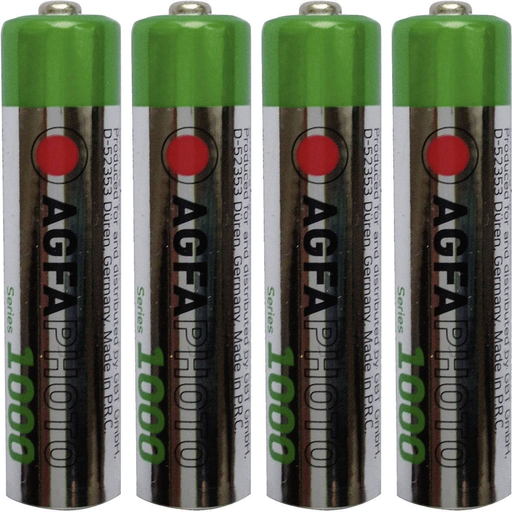 Mikrotužkový akumulátor typu AAA NiMH AgfaPhoto HR03 802756, 900 mAh, 1.2 V, 4 ks