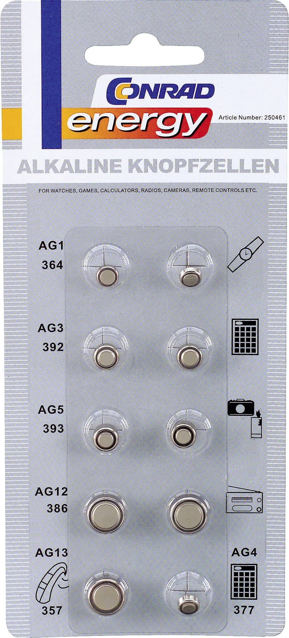 10-dielny set alkalických gombíkových batérií