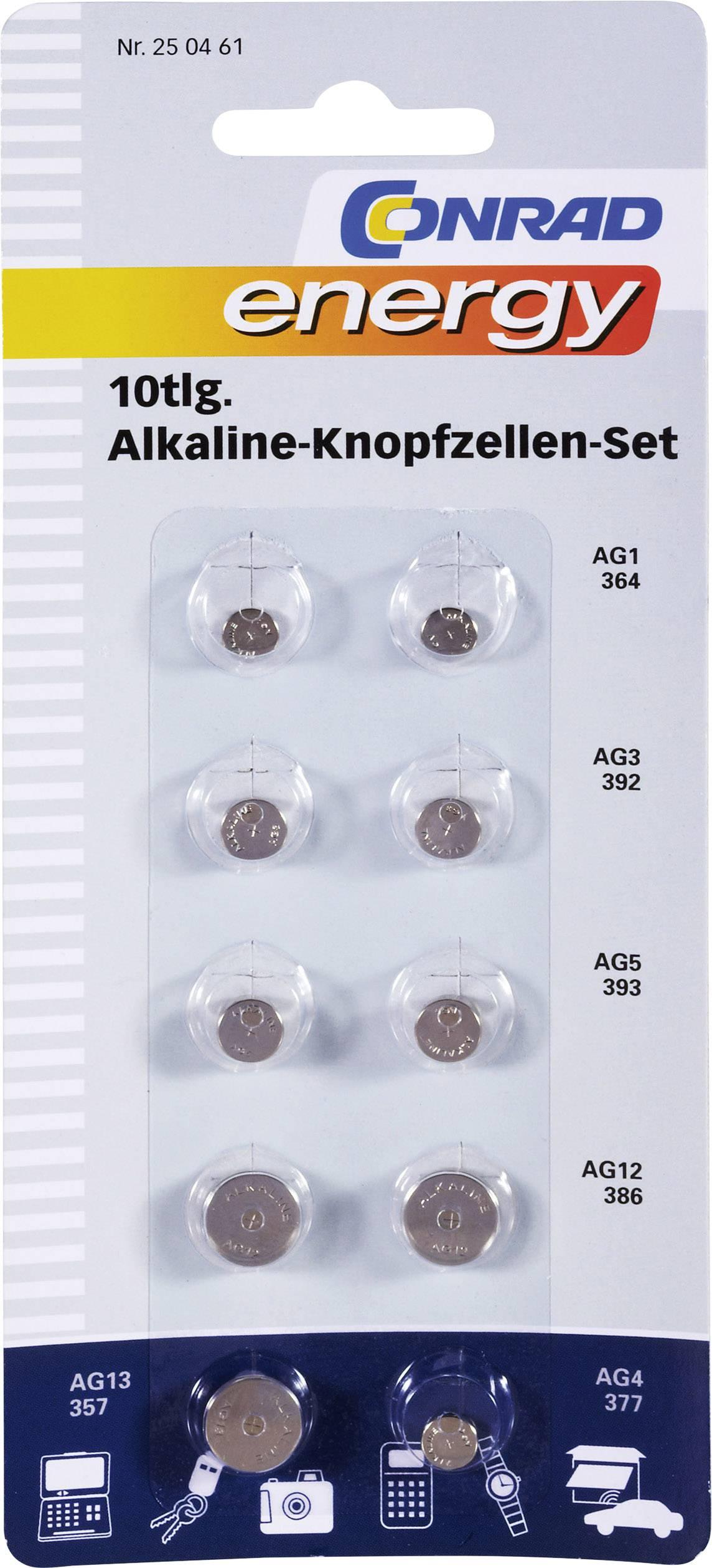 Alkalické knoflíkové baterie Conrad energy, 1,5 V, sada 10 ks