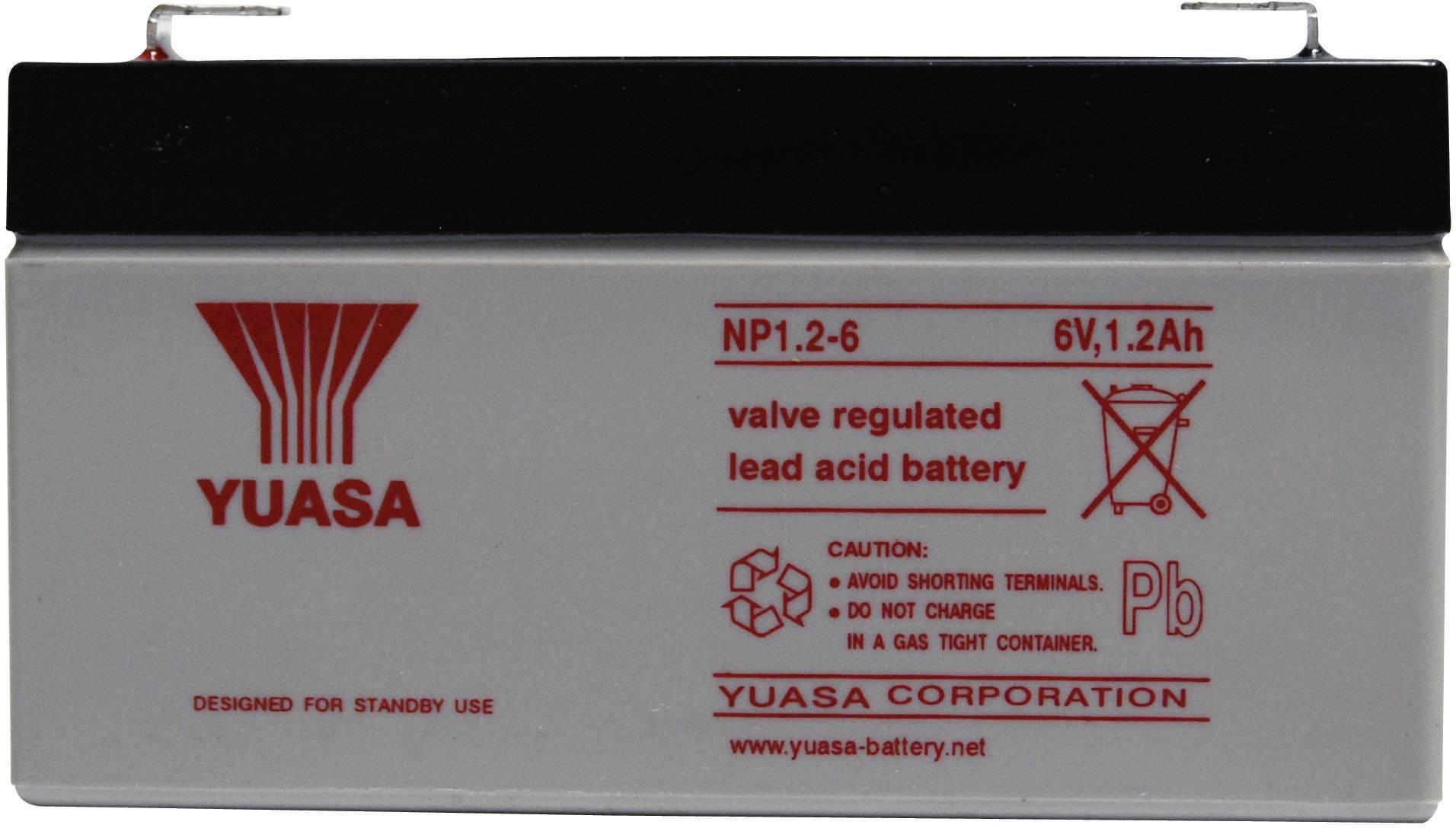 Olovený akumulátor Yuasa NP1.2-6 NP1.2-6, 1.2 Ah, 6 V
