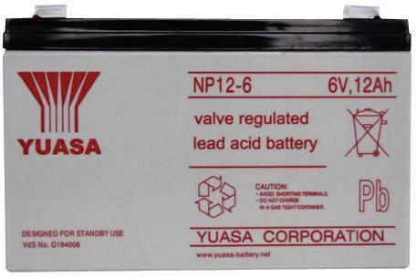 Olovený akumulátor Yuasa NP12-6 NP12-6, 12 Ah, 6 V