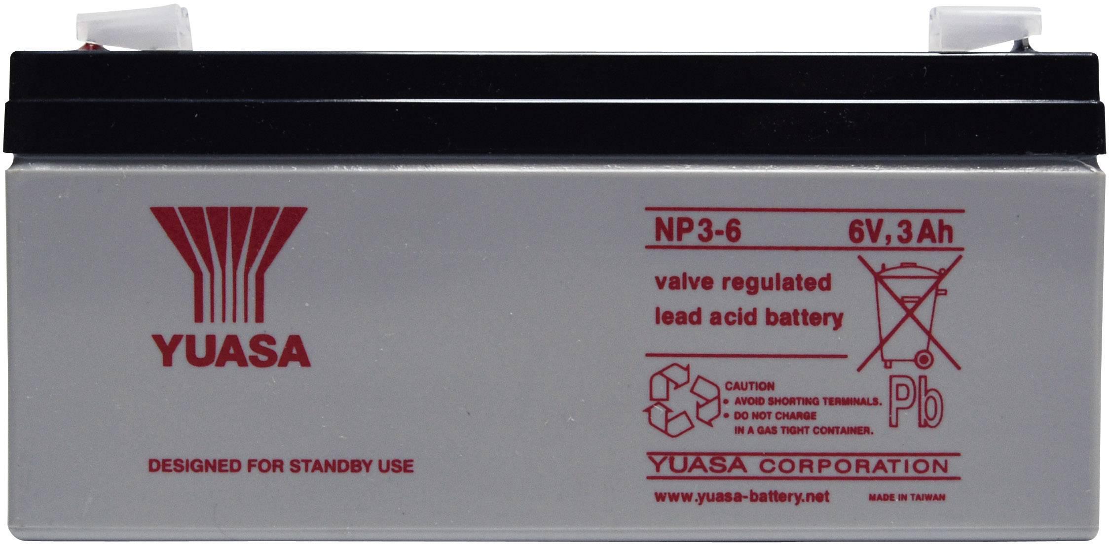 Olovený akumulátor Yuasa NP3-6 NP3-6, 3 Ah, 6 V