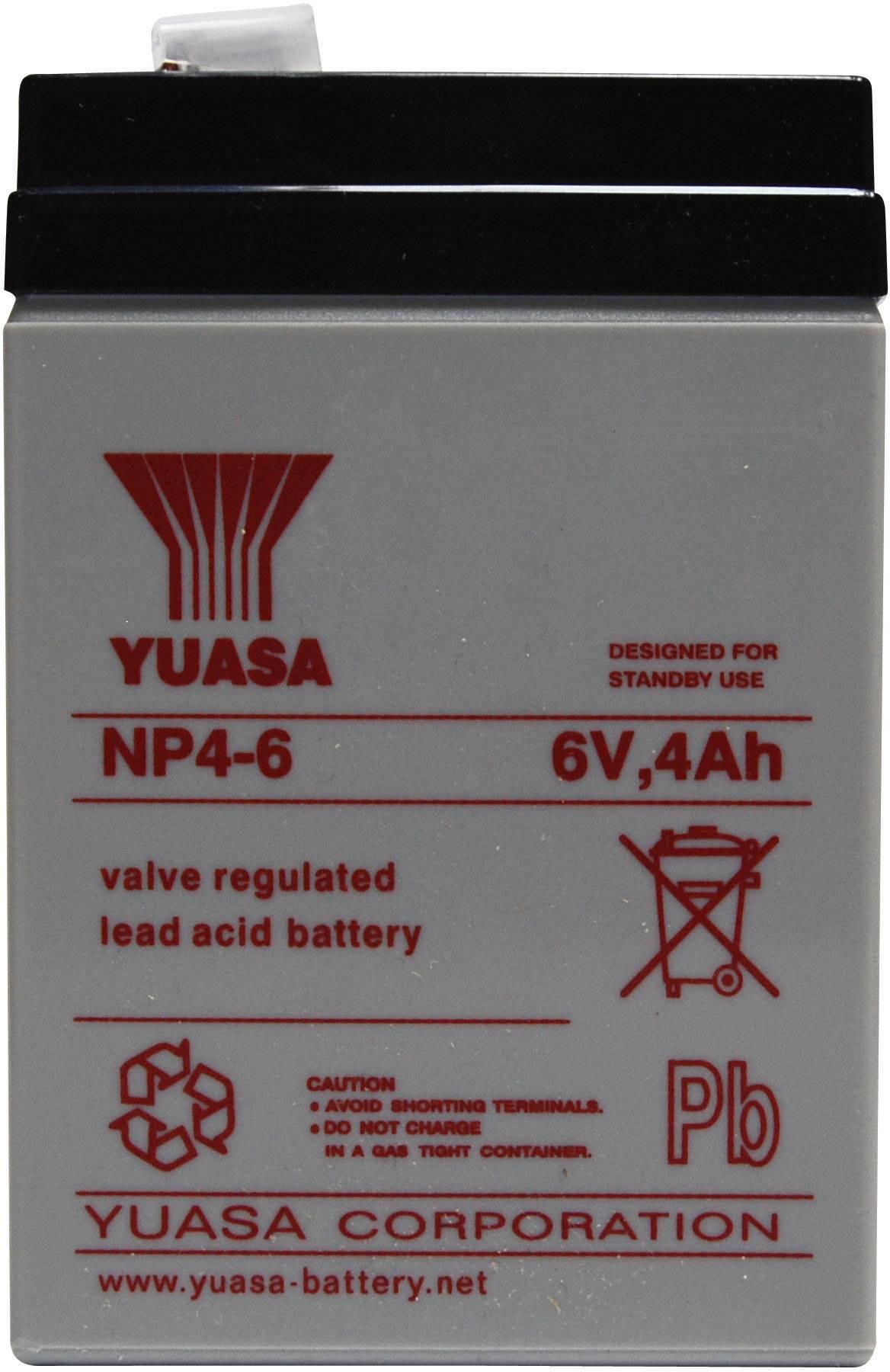 Olovený akumulátor Yuasa NP4-6 NP4-6, 4 Ah, 6 V