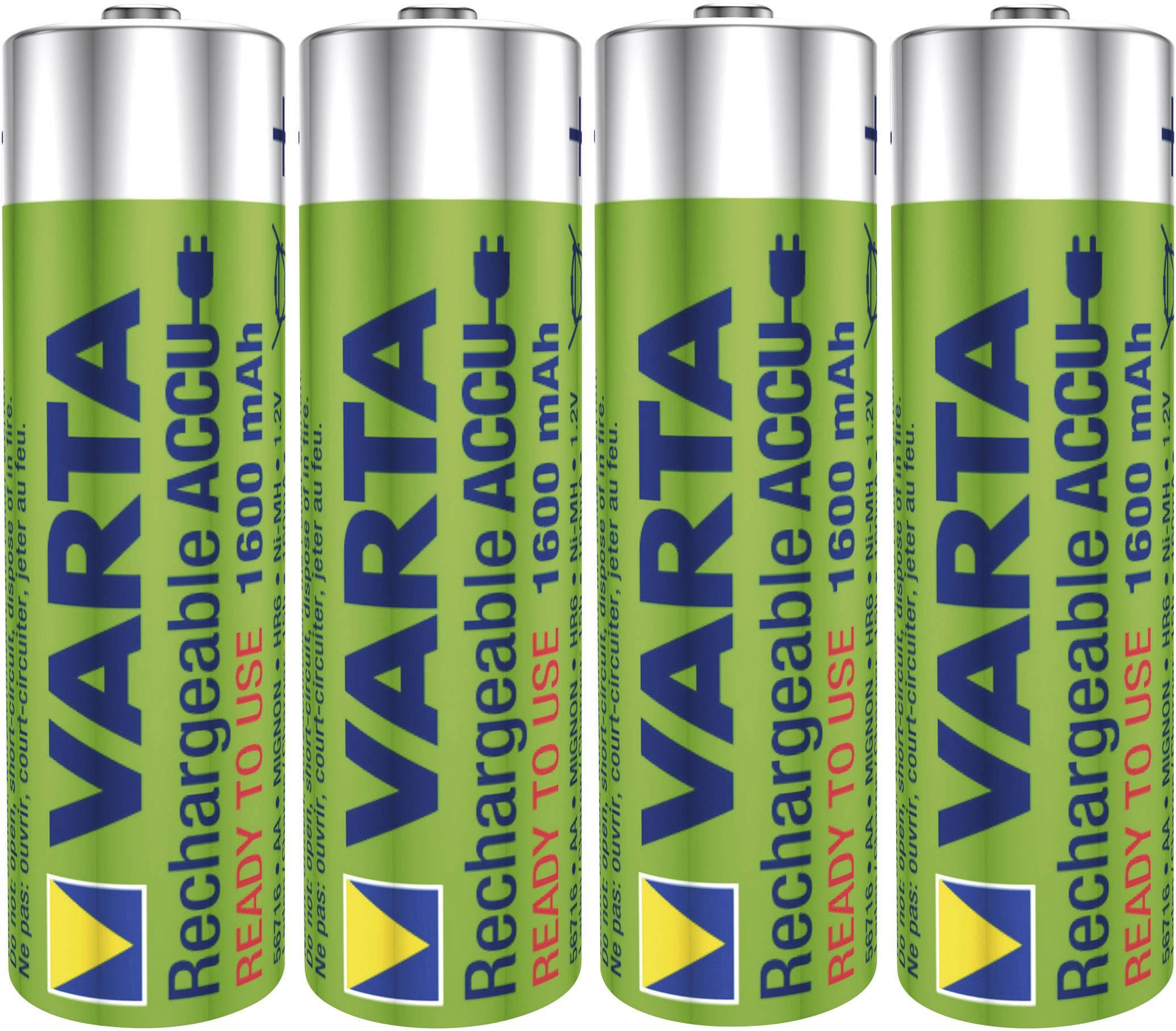 Tužkový akumulátor typu AA NiMH Varta Ready2Use HR06 56716101404, 1600 mAh, 1.2 V, 4 ks