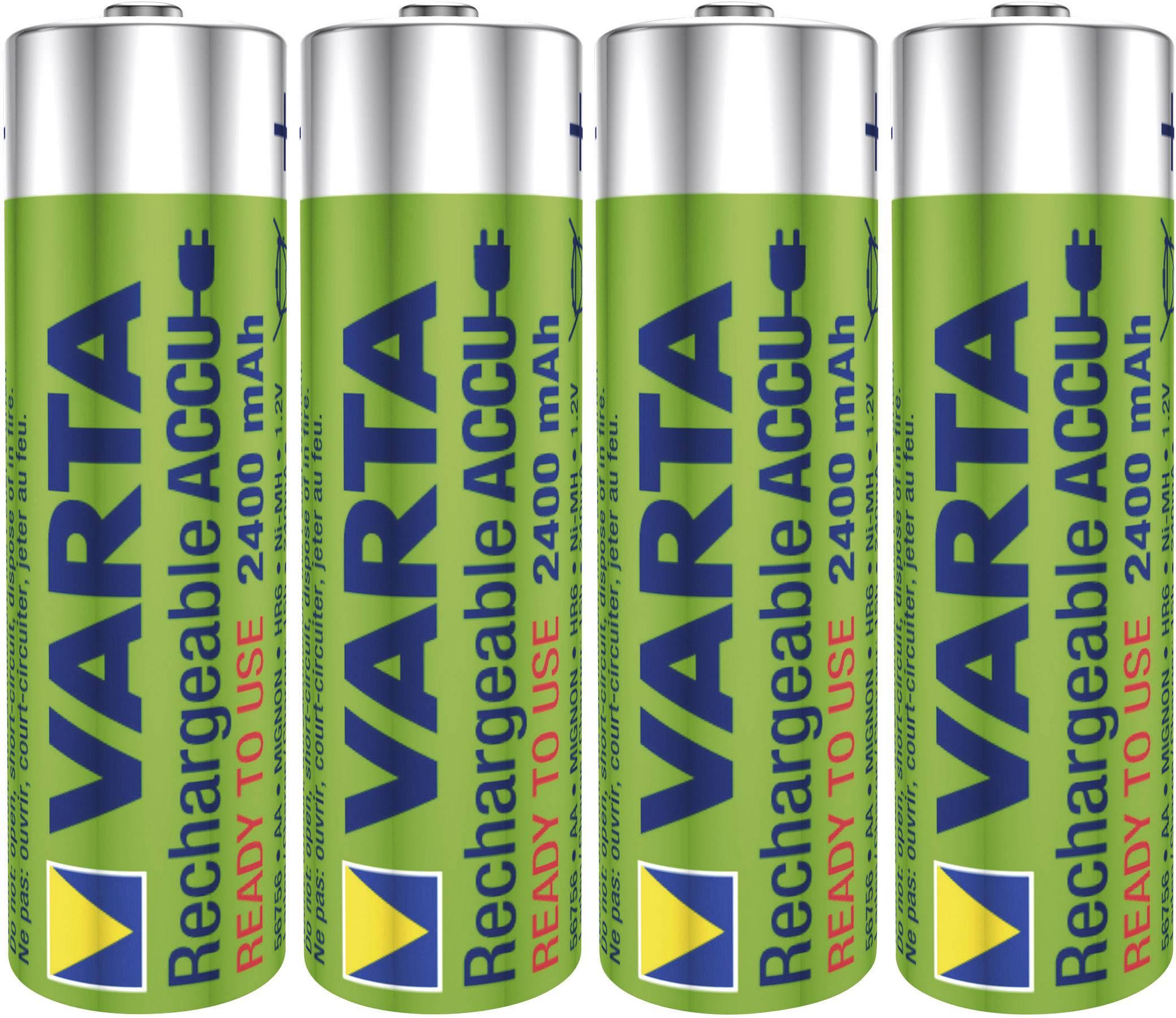 Tužkový akumulátor typu AA NiMH Varta Ready2Use HR06 56756101404, 2400 mAh, 1.2 V, 4 ks
