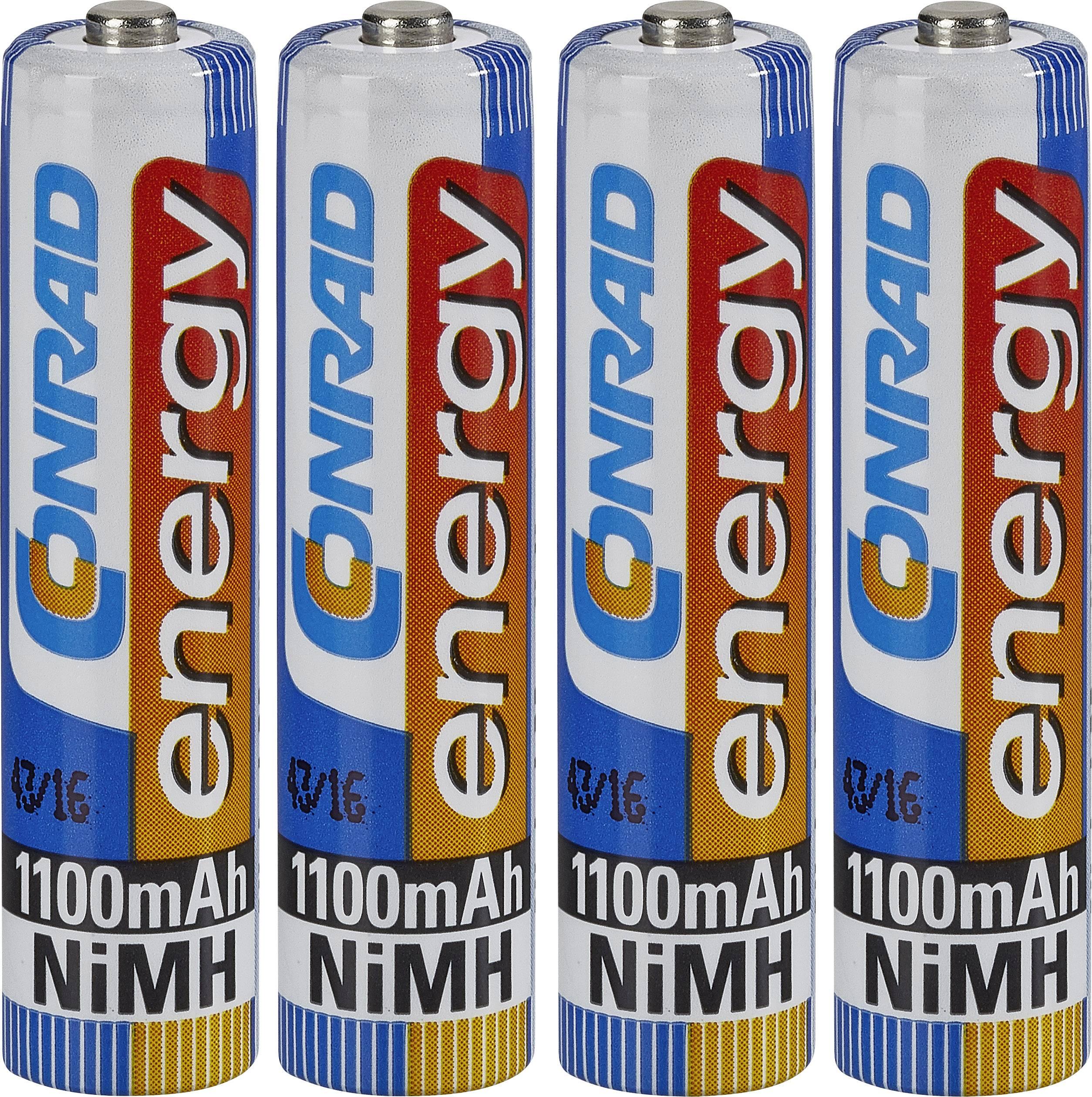 Mikrotužkový akumulátor typu AAA NiMH Conrad energy HR03 251111, 1100 mAh, 1.2 V, 4 ks