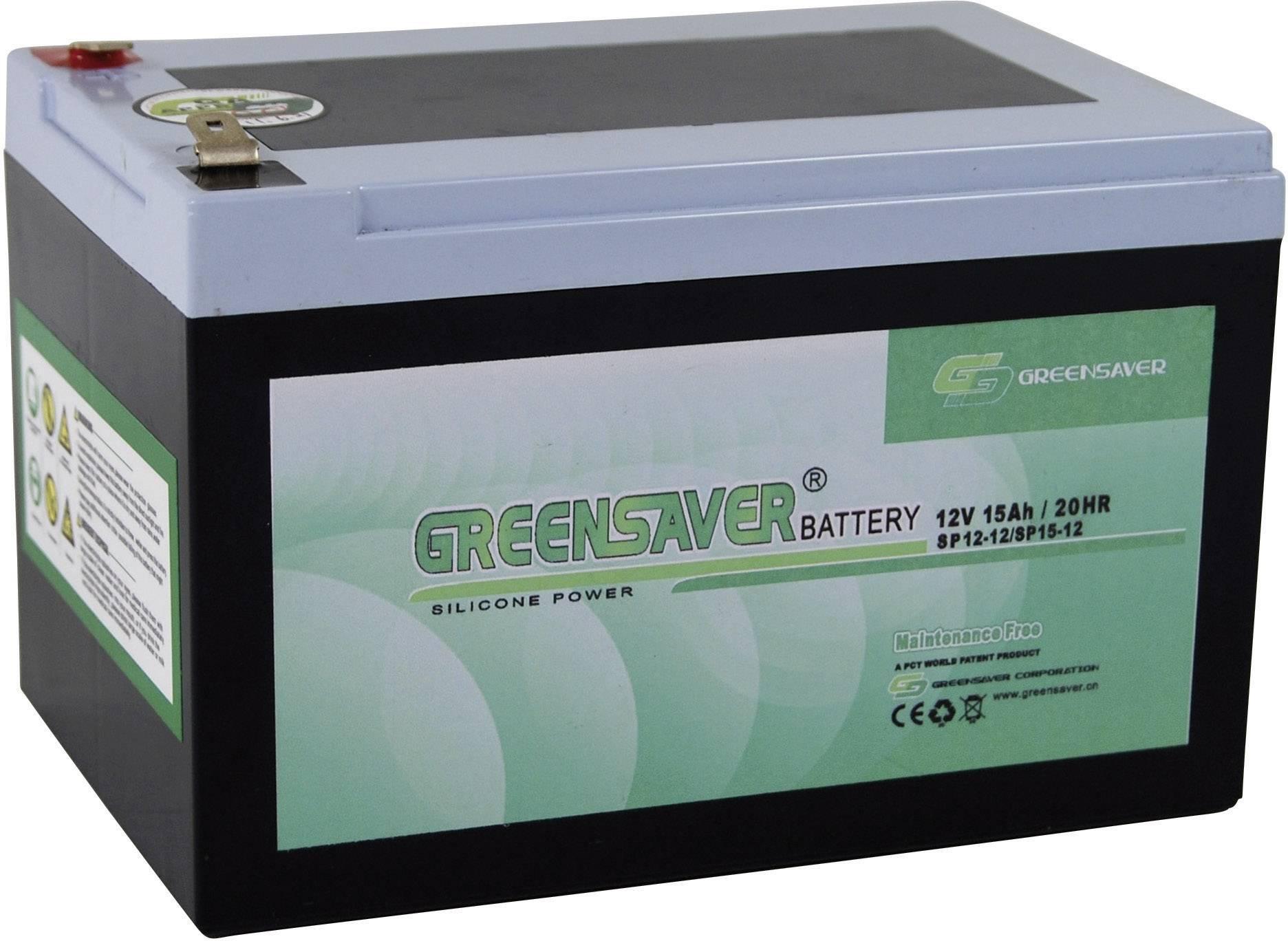 Olovený akumulátor Greensaver SP15-12, SP12-12 SP15-12, 15 Ah, 12 V