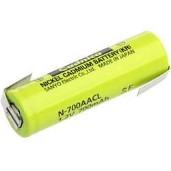 Akumulátor NiCd Sanyo AA s pájecími kontakty, 700 mAh
