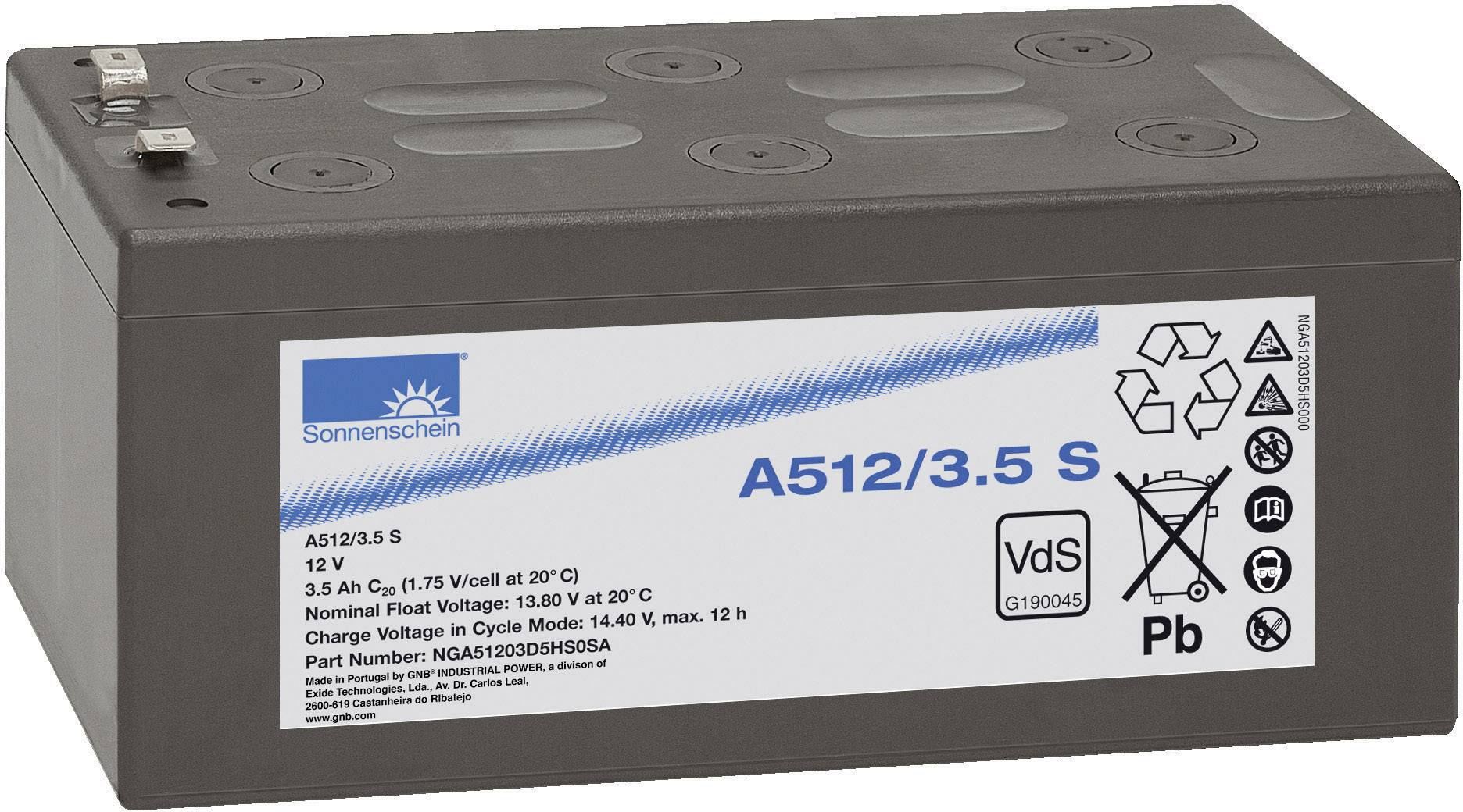 Gelový akumulátor, 12 V/3,5 Ah, Exide Sonnenschein NGA51203D5HS0SA