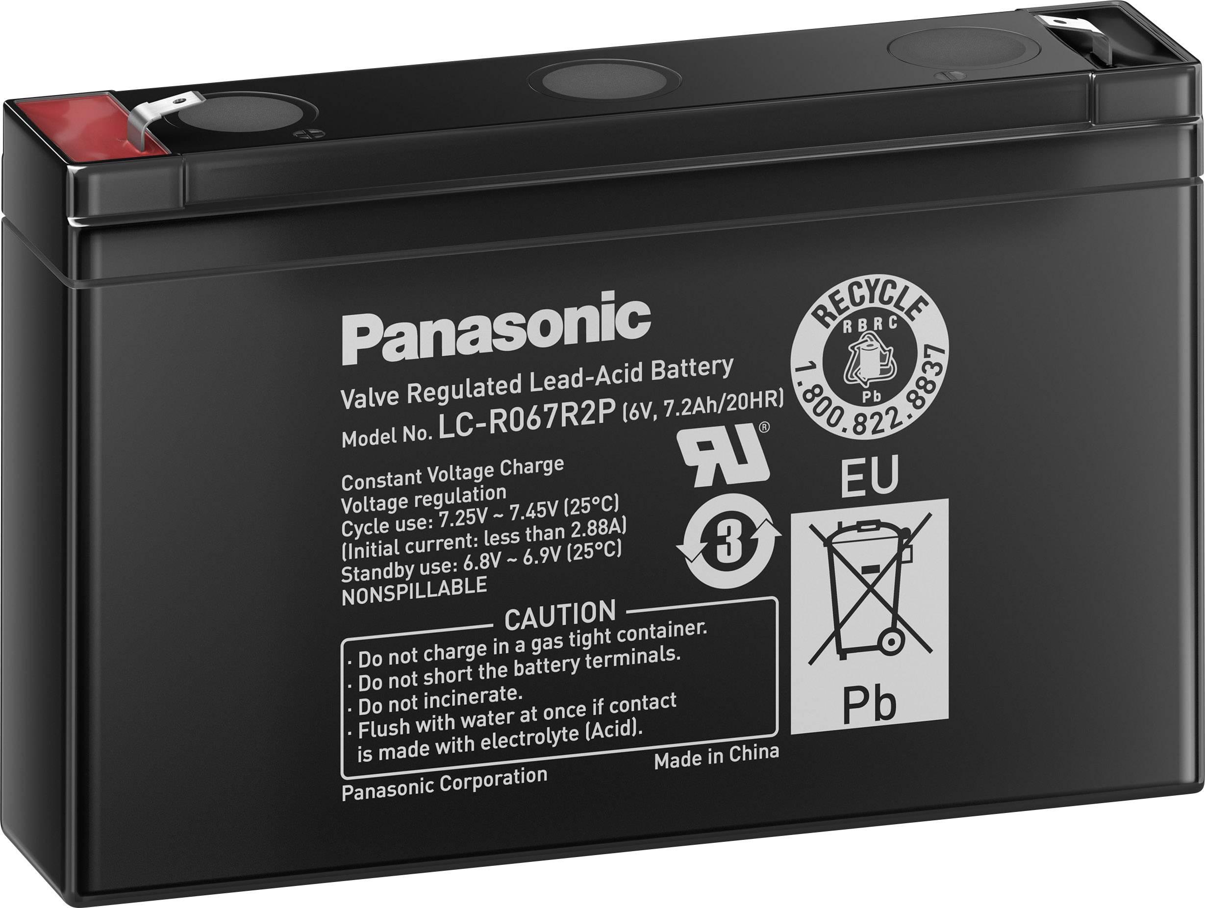 Olovený akumulátor Panasonic 6 V 7,2 Ah LC-R067R2P, 7.2 Ah, 6 V