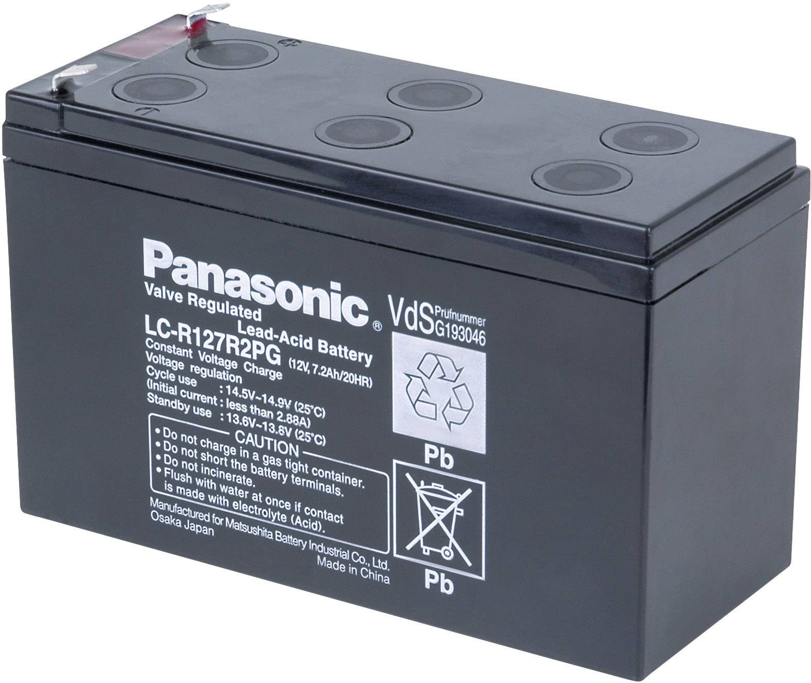 Olovený akumulátor Panasonic 12 V 7,2 Ah LC-R127R2PG, 7.2 Ah, 12 V