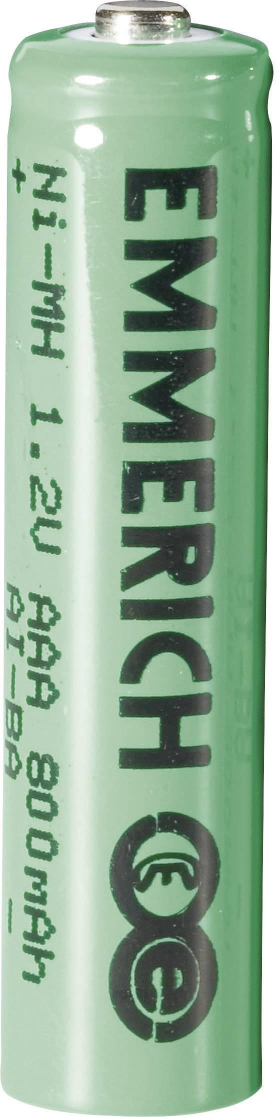 Mikrotužkový akumulátor typu AAA NiMH Emmerich HR03 255013, 800 mAh, 1.2 V, 1 ks