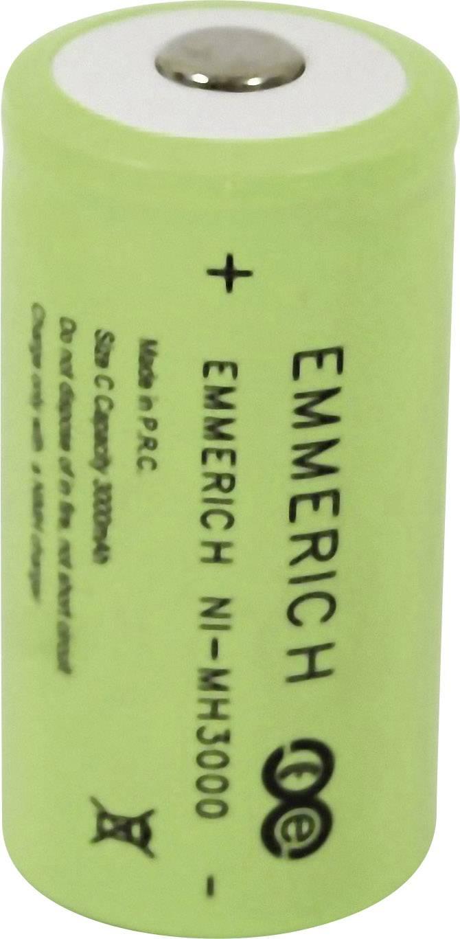 Akumulátor typu C NiMH Emmerich HR14 Flat-Top 255038, 3000 mAh, 1.2 V, 1 ks