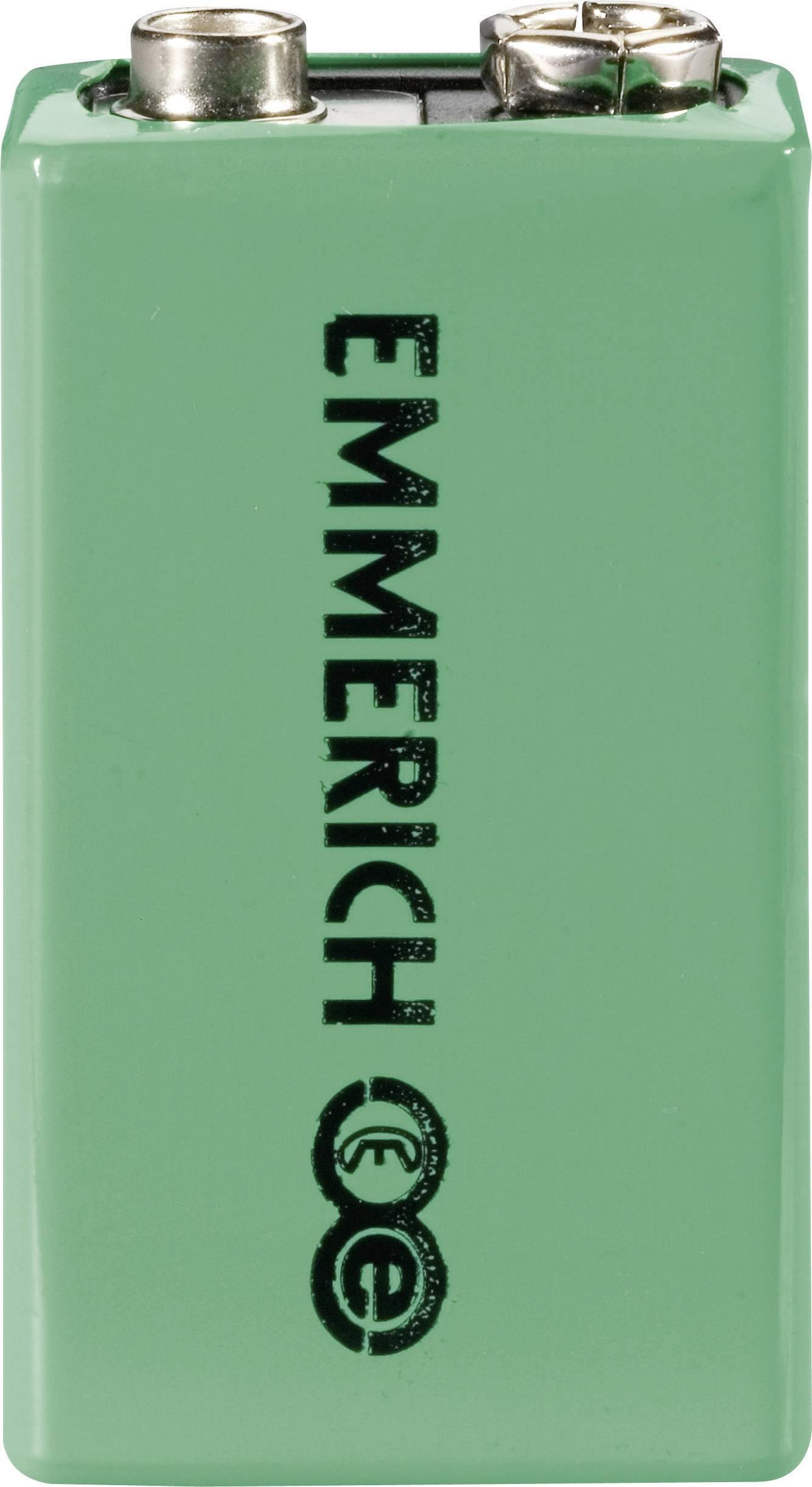 9 V akumulátor NiMH Emmerich 6LR61 255051, 200 mAh, 9.6 V, 1 ks