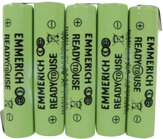 Akupack - sada nabíjacích batérií NiMH 5 micro (AAA) Emmerich ReadyToUse 5AAA-ZLF 255064, 800 mAh, 6 V