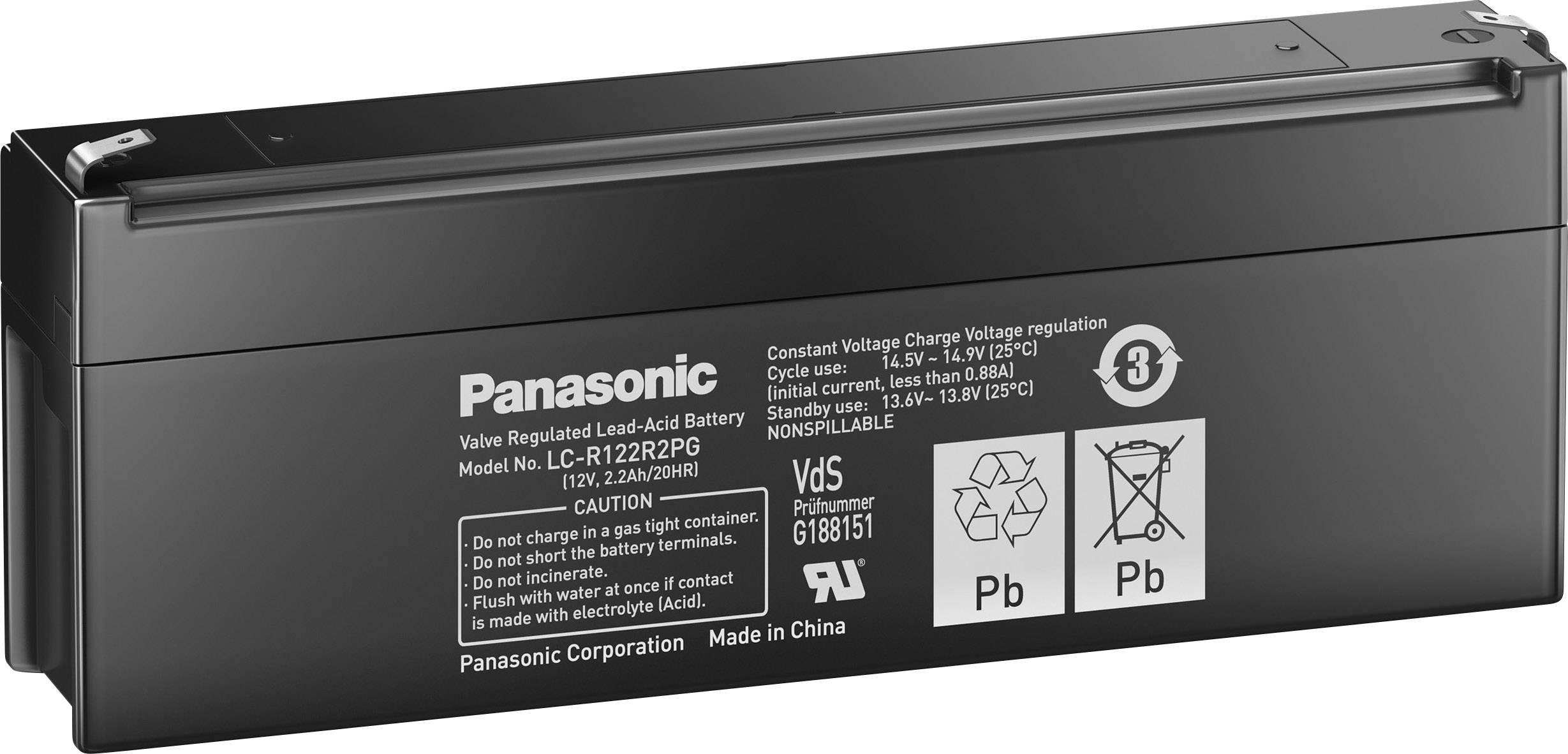 Olovený akumulátor Panasonic 12 V 2,2 Ah LC-R122R2PG, 2.2 Ah, 12 V