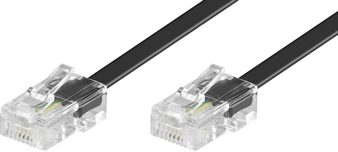 ISDN kabelová přípojka, 4žilová, RJ45, 10 m, černá