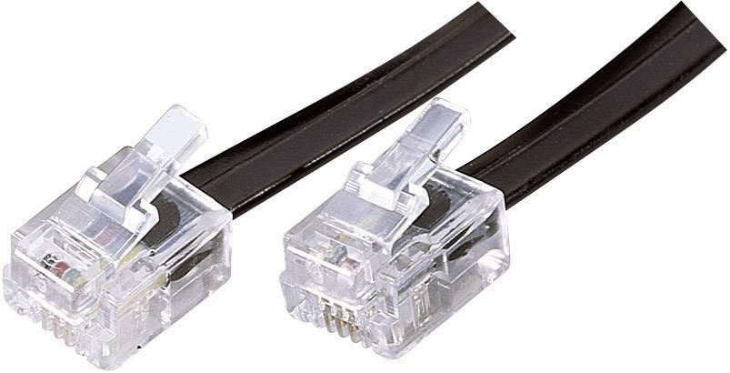 Telefoní kabel Western RJ11, 6/4, 6 m, černá