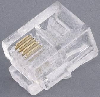 RJ11 zástrčka, rovná BKL Electronic 142142, počet pólov: 6p4c, priehľadná, 1 ks