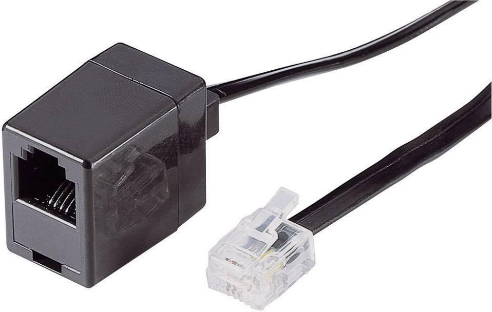 ISDN predlžovací kábel 922713, [1x RJ11 zástrčka 6p4c - 1x RJ11 zásuvka 6p4c], 6 m, čierna