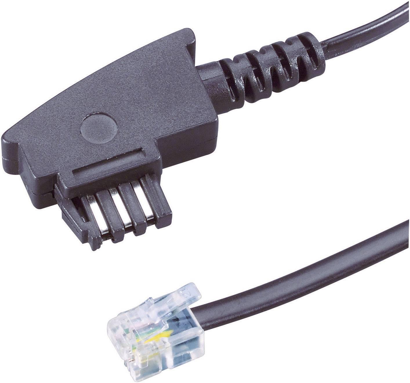 TAE, RJ11 telefonní kabel 922665, 15 m, černá