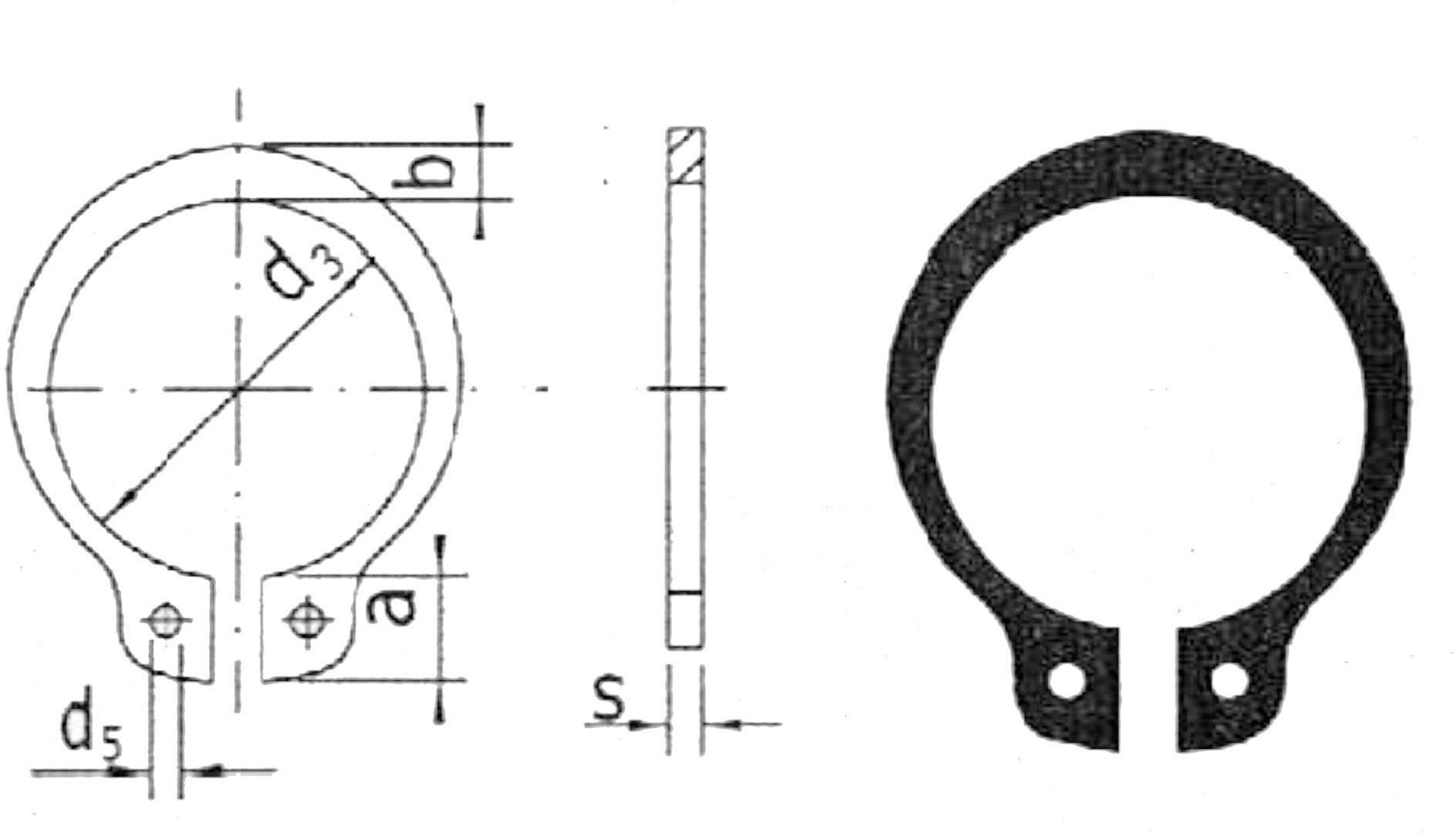 Pojistný kroužek hřídele 5 mm, 20 ks