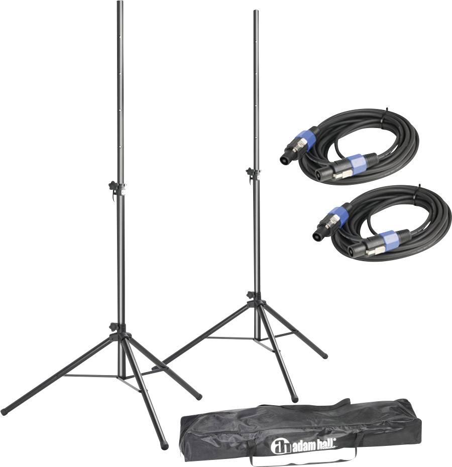 Sada stojanů na reproduktory včetně kabelů, 122 - 185 cm, nosnost 25 kg