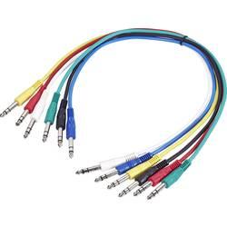 Sada barevných patchkabelů stereo jack 6,3 mm / stereo jack 6,3 mm, 0,6 m