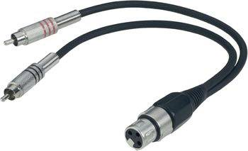 Dvojitý kabel 2x cinch (M) / 1x XLR (F), 0,6 m