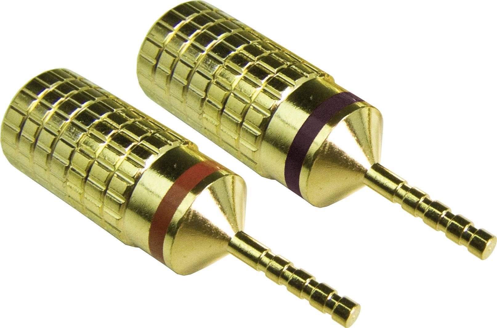 Konektor reproduktoru, zástrčka rovná, 1pól., 2 ks, zlatá