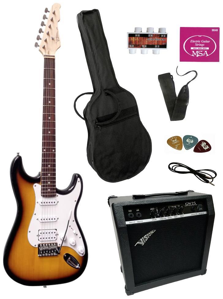 Sada elektrickej gitary MSA Musikinstrumente ST-6, sunburst, vr. púzdra, vr. zosilňovača