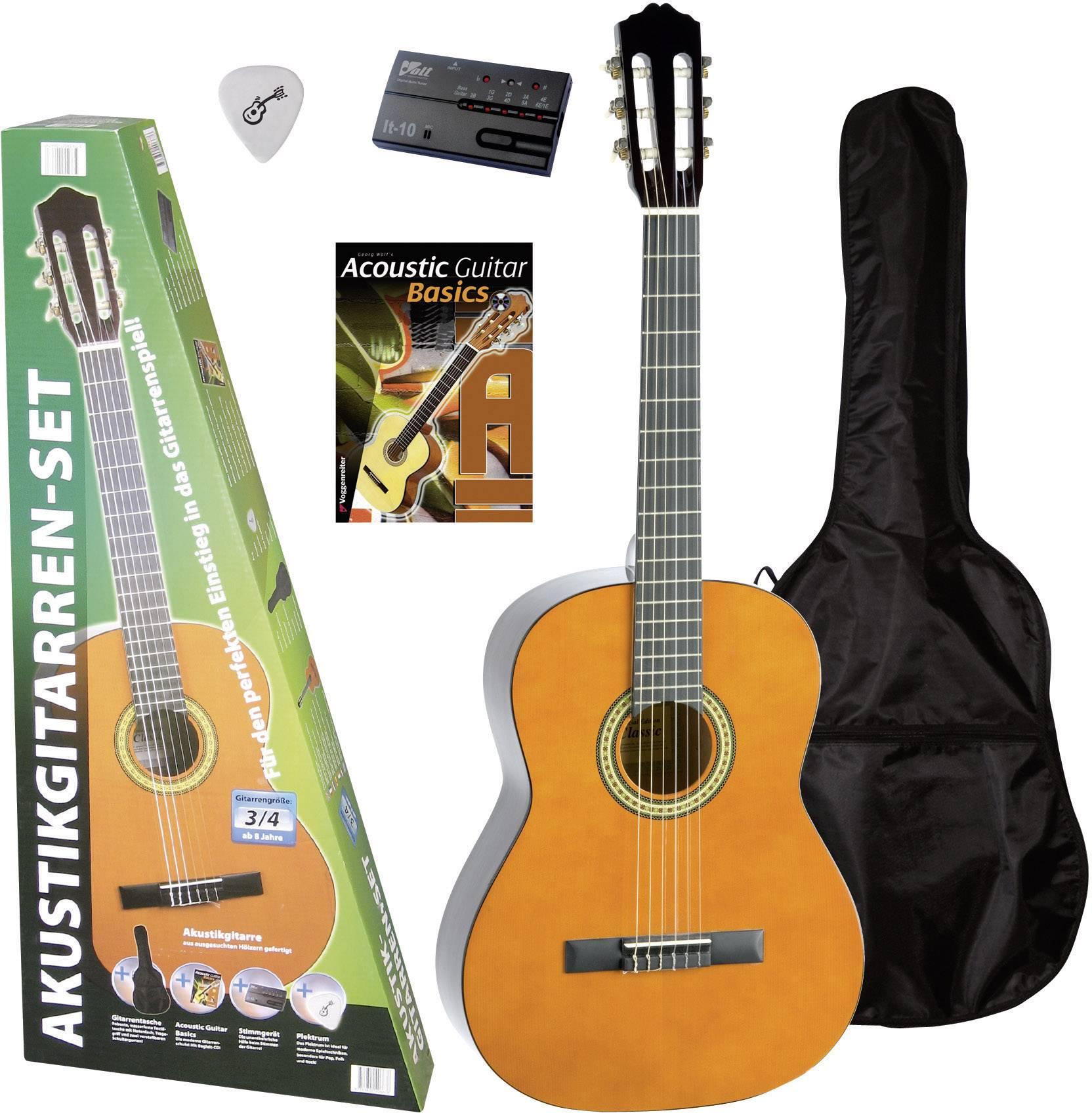 Sada koncertnej gitary Voggenreiter 667 Konzert-Gitarren-Set, veľkosť gitary 3/4, prírodná