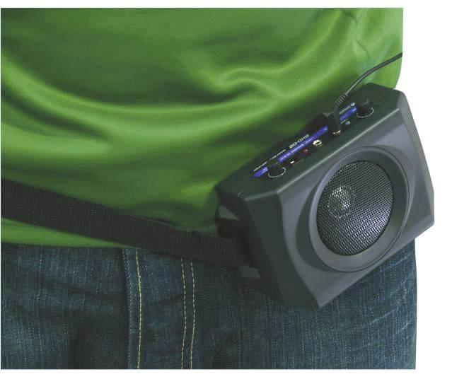 Mobilné PA reproduktory Omnitronic BHD-02, napájanie z akumulátora