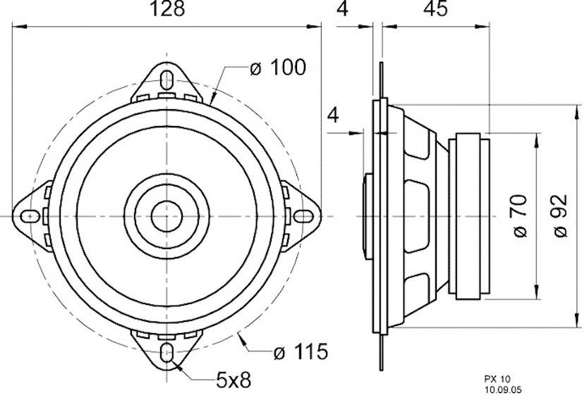 """Reproduktorové šasi Visaton PX 10, 4 """", 4 Ohm, 20 W"""