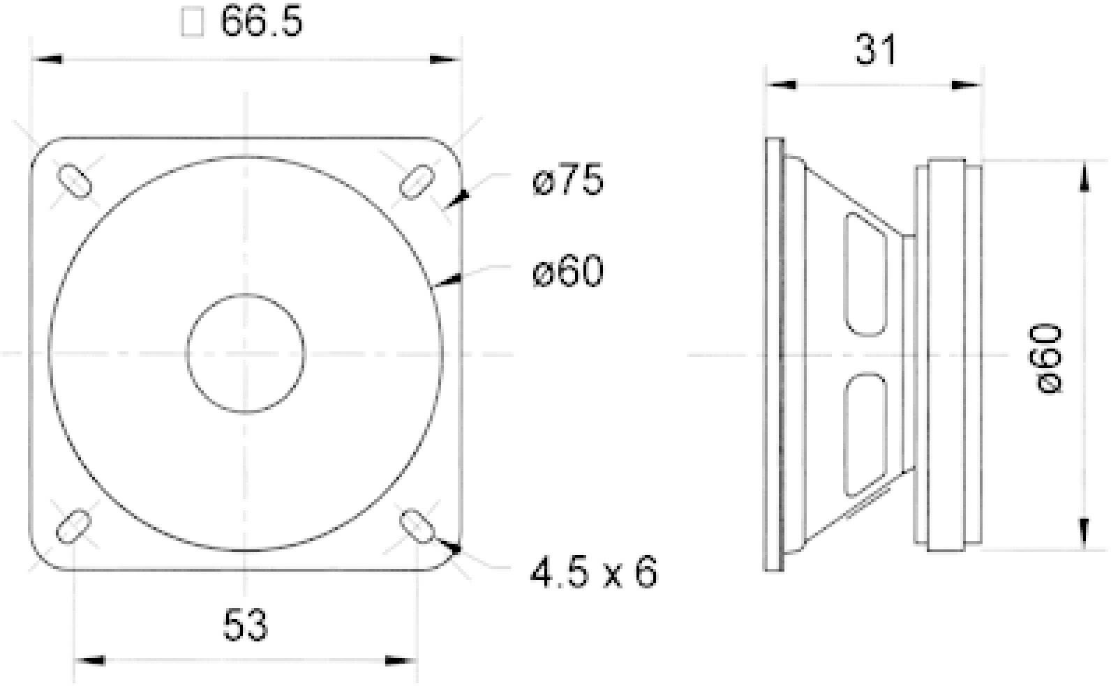 """Reproduktorové šasi Visaton FR 7, 2.5 """", 4 Ohm, 5 W"""