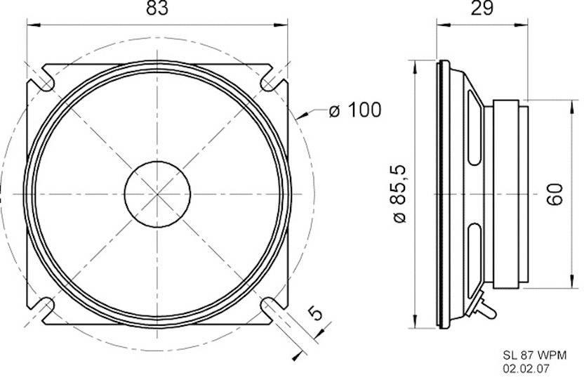 """Reproduktorové šasi Visaton SL 87 WPM, 3.3 """", 4 Ohm, 20 W"""
