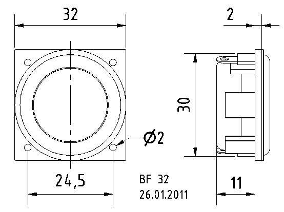 "Mini reproduktor Visaton BF 32, 1.3 "", 8 Ohm, 2 W"
