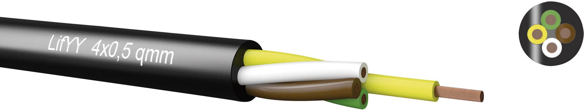 Riadiaci kábel Kabeltronik LifYY 240405000, 4 x 0.50 mm², vonkajší Ø 6 mm, 900 V, metrový tovar, čierna