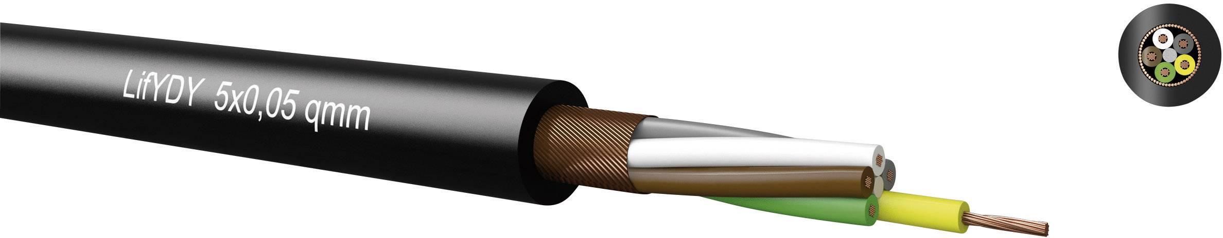 Riadiaci kábel Kabeltronik LifYDY 340800500, 8 x 0.05 mm², vonkajší Ø 3.70 mm, 100 V, metrový tovar, čierna