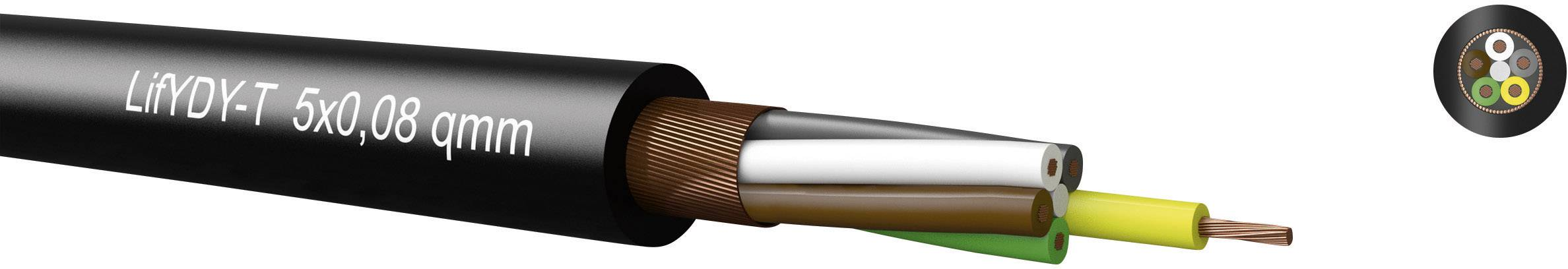 Riadiaci kábel Kabeltronik LifYDY 350500800, 5 x 0.08 mm², vonkajší Ø 3.80 mm, 300 V, metrový tovar, čierna