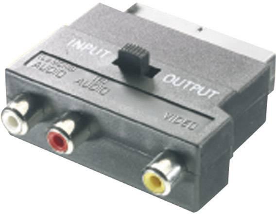 Cinch / SCART adaptér SpeaKa Professional SP-1300820, čierna