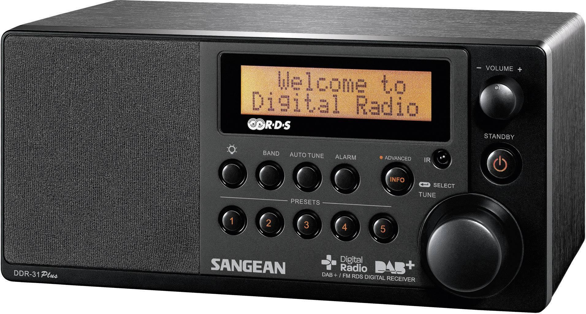 DAB+, FM stolné rádio Sangean DDR-31+, AUX, DAB+, UKW, čierna