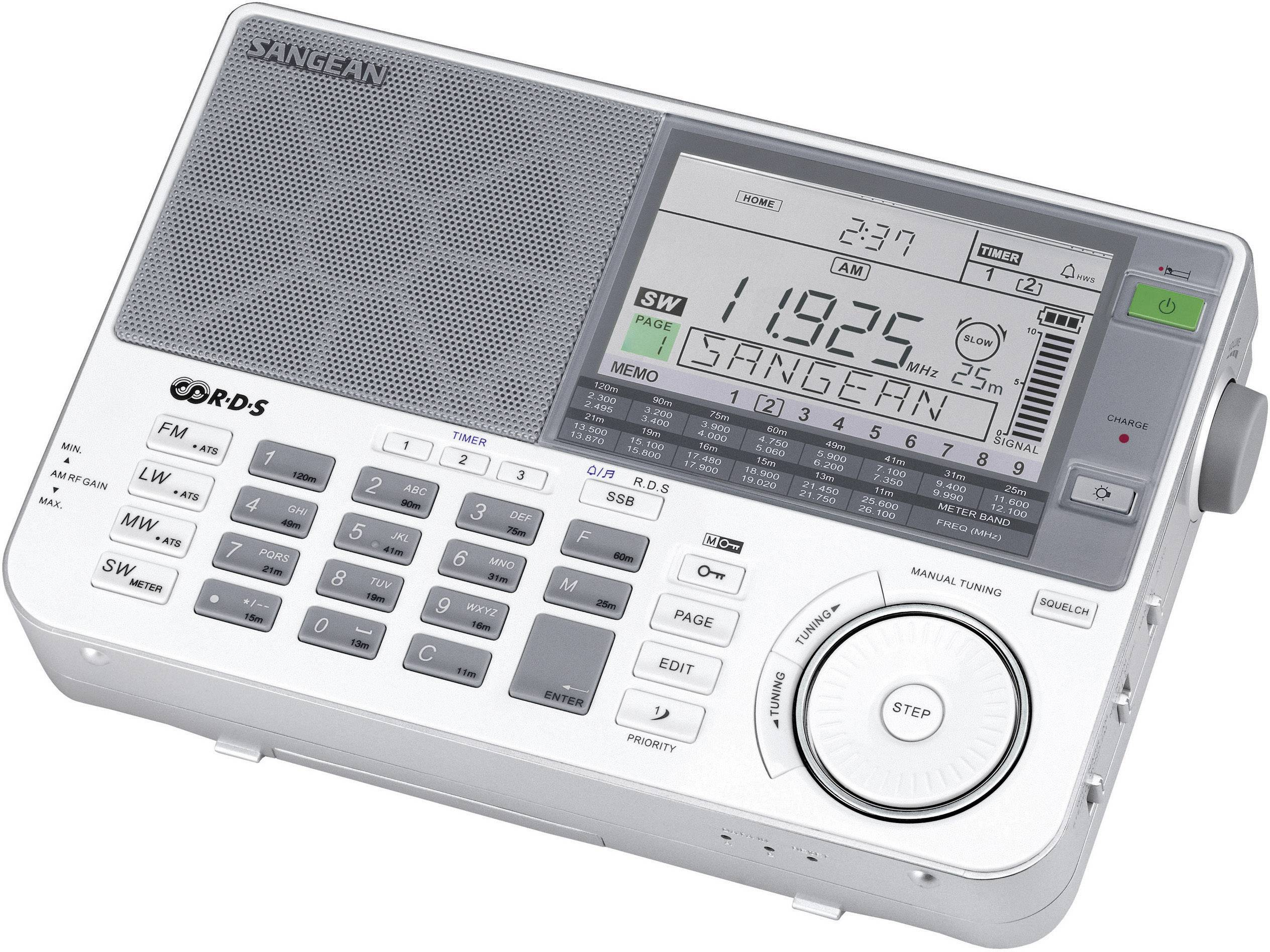 Svetový rádioprijímač Sangean ATS-909 X, AUX, KW, LW, MW, UKW, s USB nabíjačkou, strieborná