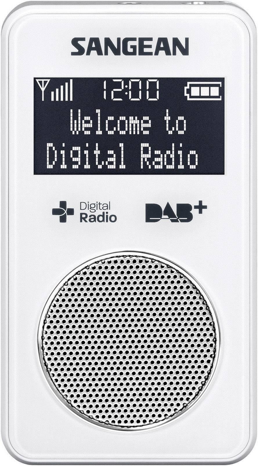 Vreckové DAB+ rádio Sangean DPR-34+, FM, biele