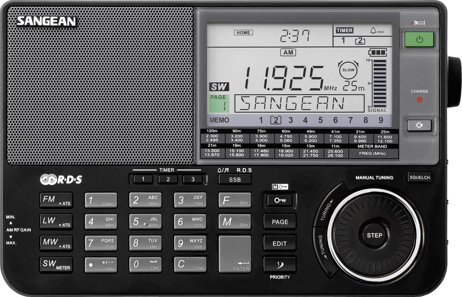 Svetový rádioprijímač Sangean ATS-909 X, AUX, KW, LW, MW, UKW, s USB nabíjačkou, čierna