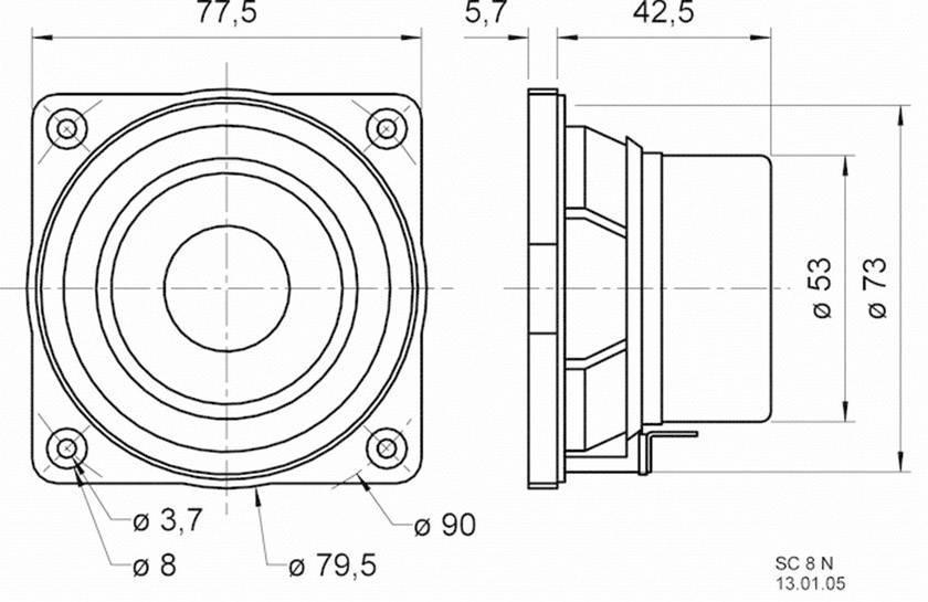 Širokopásmový reproduktor Visaton SC 8, 8 Ω