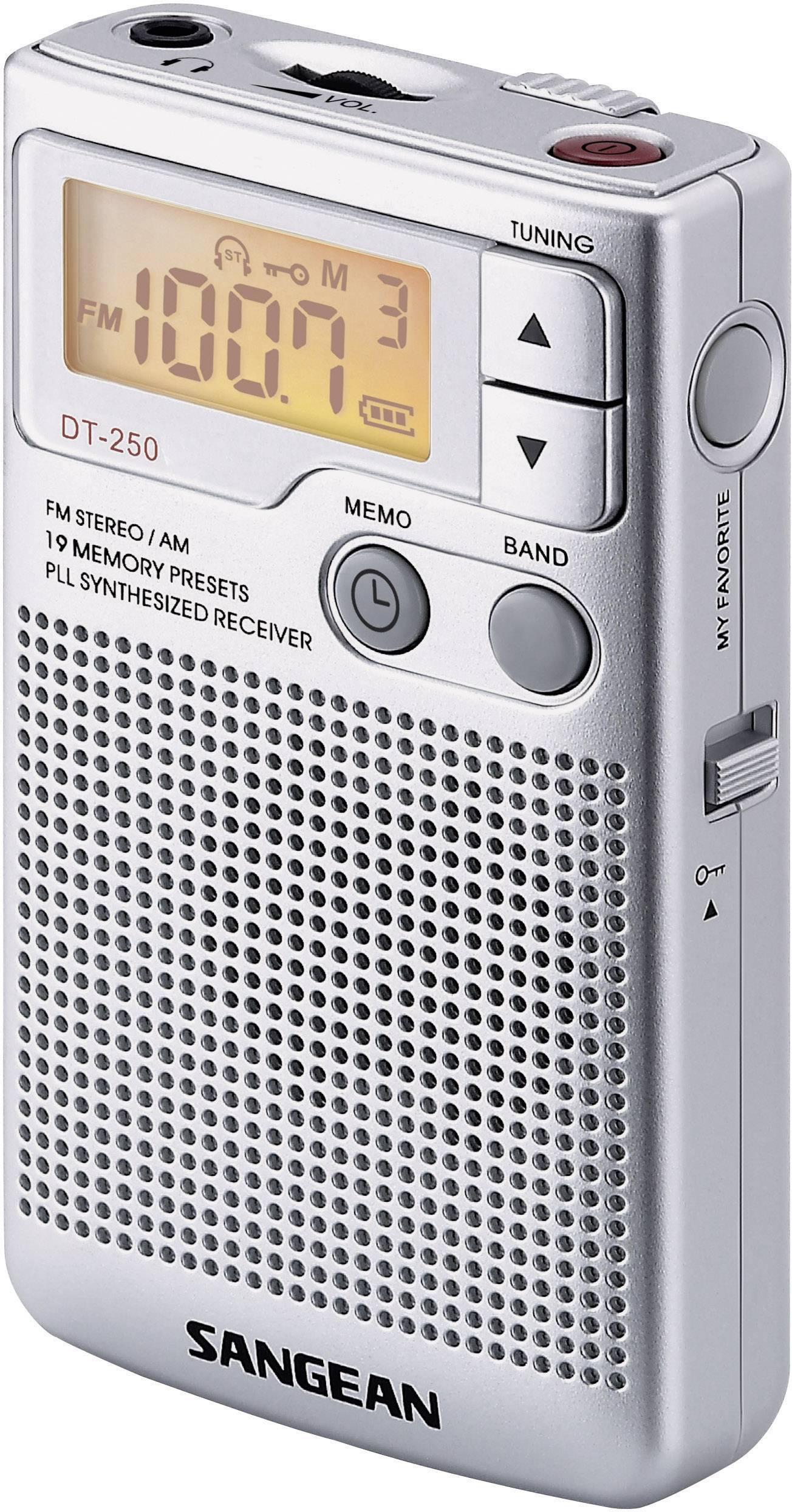 FM vreckové rádio Sangean DT-250, MW, UKW, strieborná