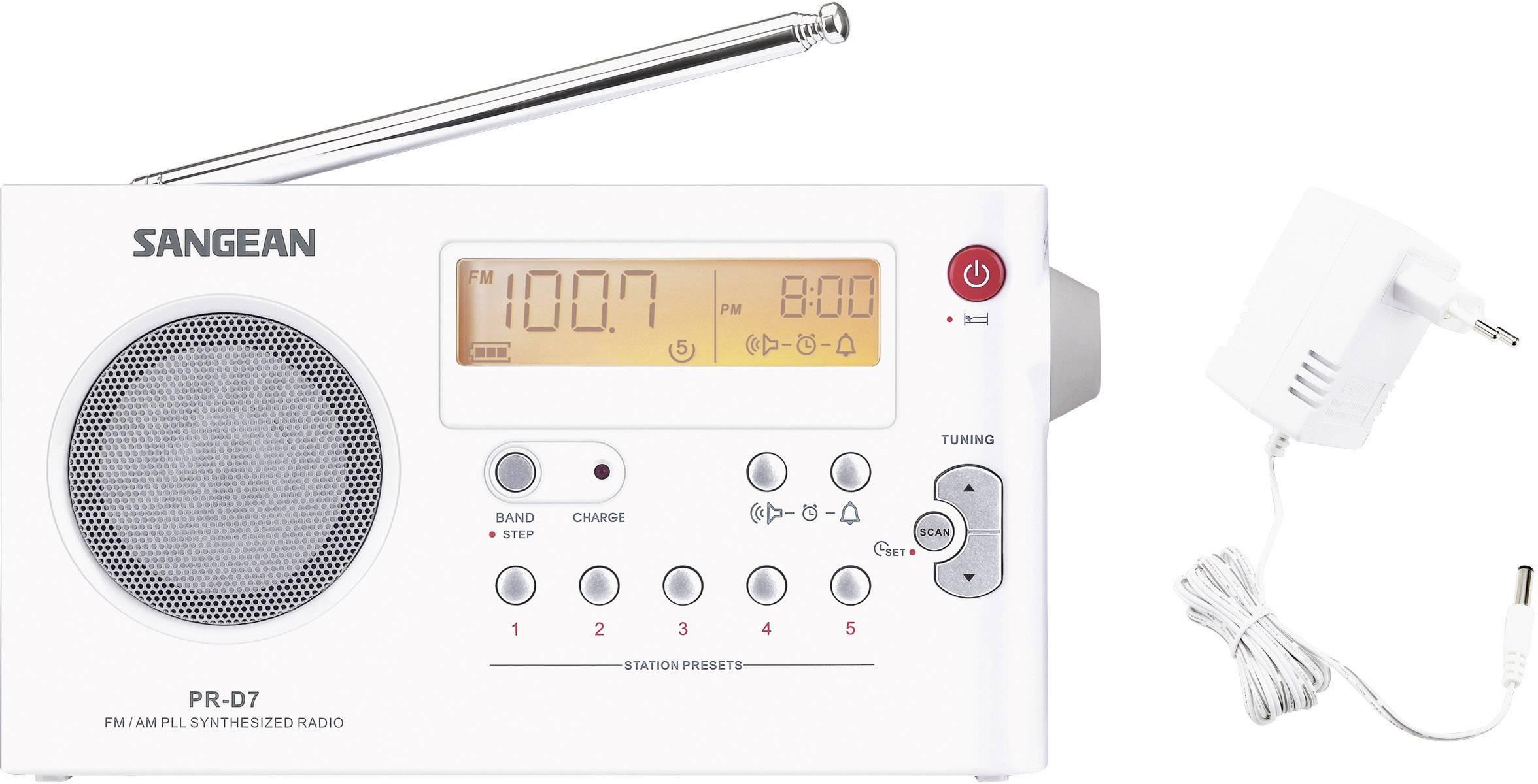 FM prenosné rádio Sangean PR-D7, MW, UKW, biela